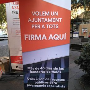Ciutadans (Cs) Sant Cugat inicia una recogida de firmas para que la alcaldesa vuelva a poner las banderas en el Ayuntamiento